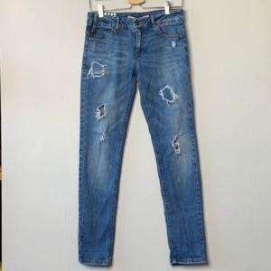 Zara Slim Fit Distressed Ripped Blue Jeans Size 6